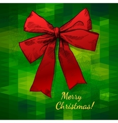 Merry Christmas Hand Drawn Bow vector image