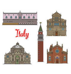 Italian travel landmarks of venice linear icon set vector