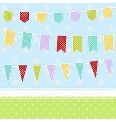 Greeting card with colorful childish bunting flags vector
