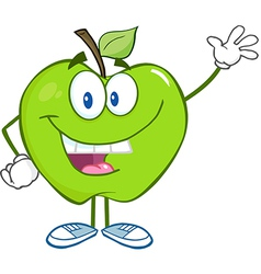 Smiling green apple character waving for greeting vector