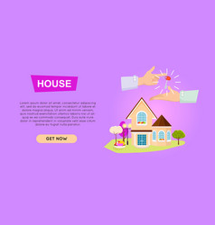 Buying house online property selling web banner vector