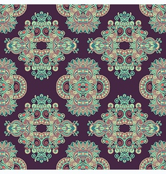 Geometry paisley vintage floral seamless pattern vector