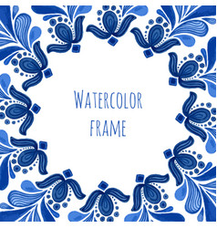 Blue traditional floral frame in russian gzhel vector