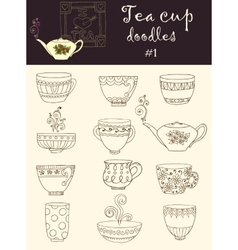 Set of doodle tea cup series of doodles vector