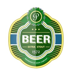 Green beer bottle label template vector