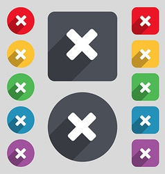 Cancel multiplication icon sign a set of 12 vector