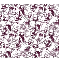 Musicians doodles ink crowd seamless pattern vector