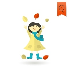 Cheerful girl with leaves vector