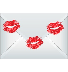 Envelope sealed with woman kisses vector