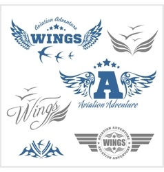 Air force shields and labels with wings vector