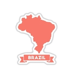 Paper sticker on white background brazil map vector