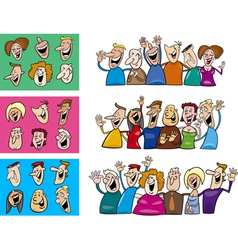 Happy people set vector