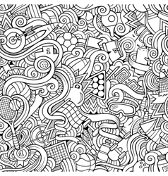 Cartoon hand-drawn doodles sports seamless pattern vector