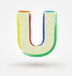 Alphabet letter u watercolor paint design element vector