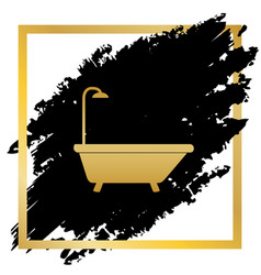 Bathtub sign golden icon at black spot vector