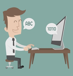 Businessman talking to a computer vector image