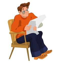 Cartoon man in orange sweater reading newspaper in vector