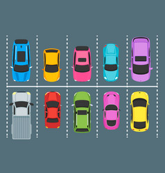 Cartoon parking zones with cars top view vector