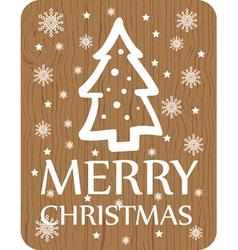 Christmas greeting with christmas tree wood vector