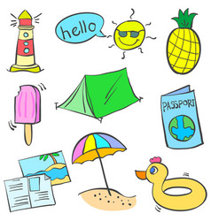 Colorful object summer of doodles vector