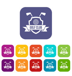 Golf club emblem icons set flat vector