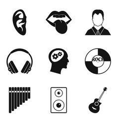 hearing icons set simple style vector image vector image