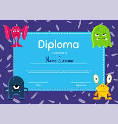 horizontal children diploma or certificate vector image vector image