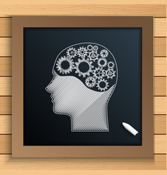 human brain mechanism with cogs and gears written vector image