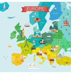 Map of europe with names vector