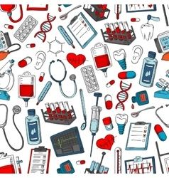 Medical seamless pattern of medicine items vector
