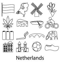 Netherlands country theme outline symbols icons vector