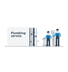 Plumber at work with tools in basement vector