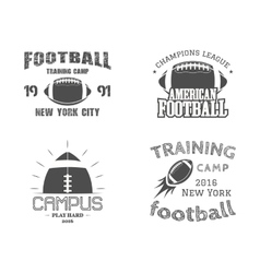 Set of american football team campus badges logos vector