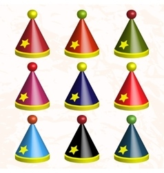 Set of colorful party hats vector image
