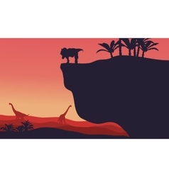 Silhouette of brachiosaurus and t-rex with red vector