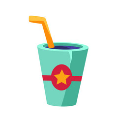 soft drink in glass with a straw cinema and movie vector image vector image
