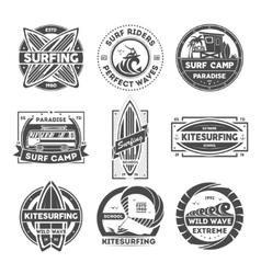 Surfing camp vintage isolated label set vector