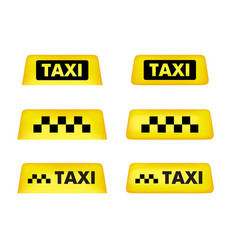 taxi car roof sign icon set vector image