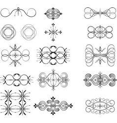 Vintage floral filigree design element vector
