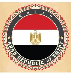 Vintage label cards of egypt flag vector