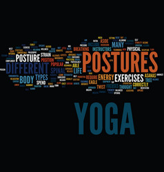 Yoga postures text background word cloud concept vector