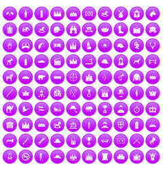 100 horsemanship icons set purple vector