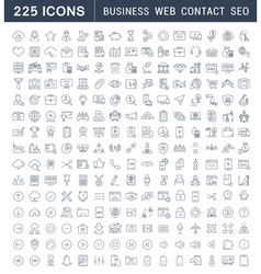 Set Flat Line Icons Business SEO WEB and Contact vector image
