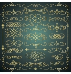 Vintage hand drawn golden swirls collection vector