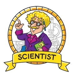 Emblem of funny scientist or inventor vector