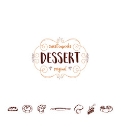 Badge for small businesses - sweet cupcake dessert vector