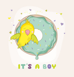 Cute parrot on a colorful donut baby shower card vector