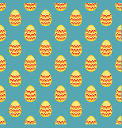 Tile pattern with easter eggs on blue background vector