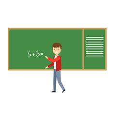 Boy solving math problem on blackboard in vector