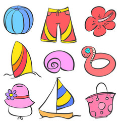 Doodle of summer object holiday vector